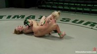 2 blonds battle to see who gets 2 fuck the other. Brutal scissor submissions, headlocks and grapevines