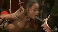 Bound slave girls deep throating cock gags