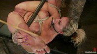 Sexy blond bomb shell with huge tits, is anally penetrated, nipple tortured, made to squirt and cum!