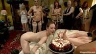 PUBLIC ALL GIRL LESBIAN BDSM ORGY starring Justine Joli LIVE!