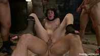Girl gets her first gangbang, first DP, and first DAP on camera!!!