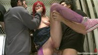 Redheaded alt babe trapped in Elevator, Bound with zip ties and Gangbanged