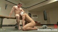 Pervert at the gym gets bound, beaten and fucked by Connor Maguire