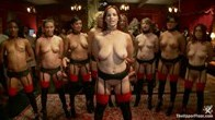 Nine Slaves, 100 Horny Guests Attend Annual Masquerade Orgy, Part One