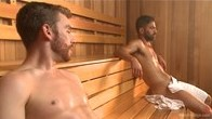 Super Hunk Adam Ramzi gets tied up and edged in the sauna