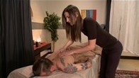 TsSeduction Massage - Michelle Strokes Her Bloke and whips out her COCK!