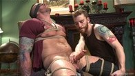 Muscled hunk bound to the pool table with an aching cock ready to blow