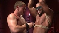 Muscled stud beaten and tormented in bondage before hes rewarded with cum