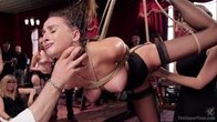Big Titted 19 Year Old in Bondage Made to Serve Orgy