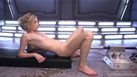 First timer gets machine fucked until she squirts everywhere.
