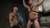 Muscled leather daddy takes thick cock in a dark basement