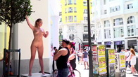 Perky Blonde Selvaggia Fully Nude in Public Gets Anal Fisted and DPd