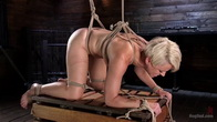 Blonde Buff MILF Helena Locke Made to Cum in Tight Rope Bondage!