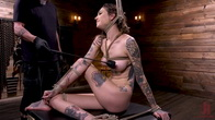 Tall Tattooed Slut in Grueling Bondage is Blissfully Suffering