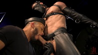 Larkins Load: Ricky Larkin Bound in Leather, Tickled, and Drained